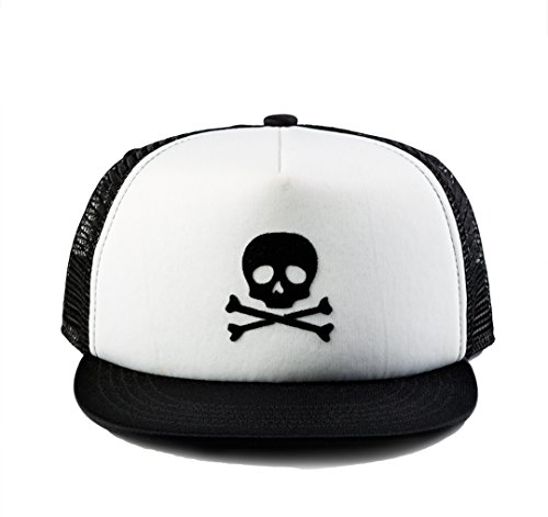 (Born to Love Baby Boy Infant Trucker Hat Snap Back Sun Hat - XS (43 cm 6-12 Months), Black & White Skull)