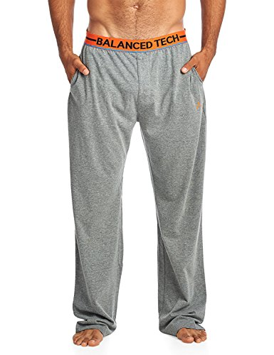 Balanced Tech Men's Solid Cotton Knit Pajama Lounge Pants - Medium Heather Grey/Orange - Large