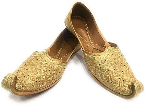 Indian Mens Flat Sandal Ethnic Mojari Traditional Leather Shoes Handmade Juti