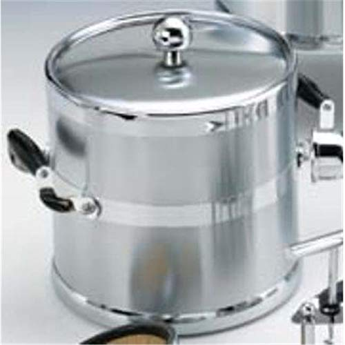 OKSLO Brushed chrome 3 quart. metal ice bucket with wood side handles