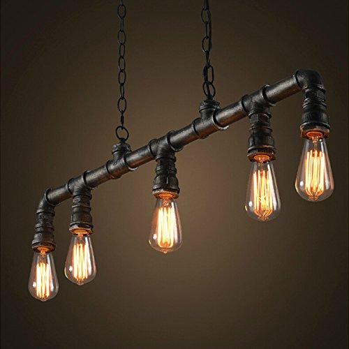 """Ruanpu Industrial 35.43"""" Wwidth Vintage 5 Light Multi Light Pendant Light in Pipe Style, Rusty Chandelier Edison Ceiling Light"""