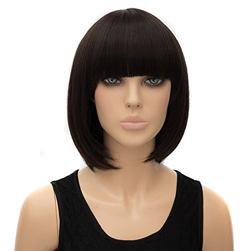 Icoser® Sexy Synthetic Hair Wigs Brown Short Korean Wig Costume Cosplay and a Wig Cap Black and a Hair (Sexy Updo)