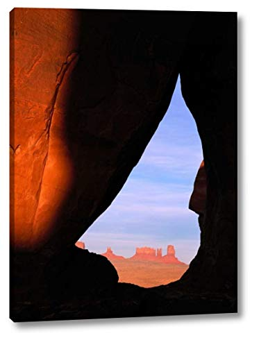 """Teardrop Arch with Buttes in Distance, Monument Valley, Arizona by Tim Fitzharris - 17"""" x 23"""" Gallery Wrapped Giclee Canvas Print - Ready to Hang"""