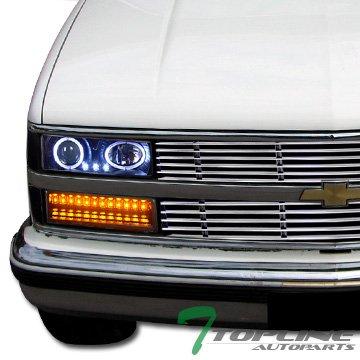 Topline Autopart Black Halo Projector Head Lights W/Led Bumper+Corner 88-93 Chevy/Gmc C10 Truck Suv
