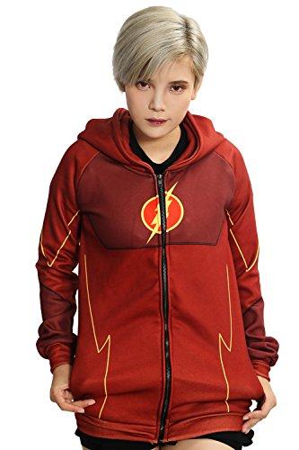 The Flash Costume Hoodie (XCOSER Flash Hoodie Sweatshirt Jacket Costume for Halloween Cosplay S)