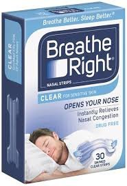 Breathe Rite Strips - Breathe Right Nasal Strips - Clear - For Sensitive Skin - Sm / Med Clear Strips - 30 Count Strips Per Box - Pack of 3
