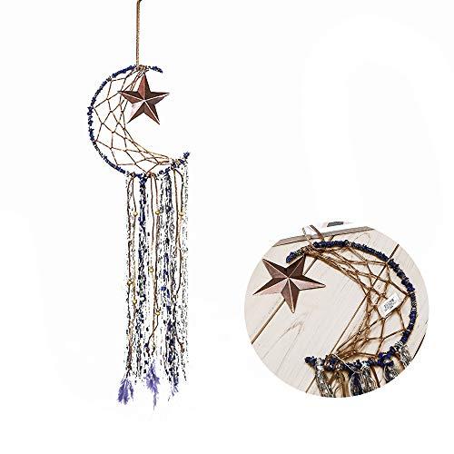 ar Handmade Dream Catcher Wind Chimes, Net with Feathers Wall Hanging Ornament Craft Gift Tassel Pendant Dreamcatcher Traditional Crochet Design Home Art Hanging Décor (Moon-Star) ()