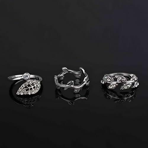 3pcs Urban Plain Crystal Leaf Above Knuckle Mid Finger Midi Ring Set