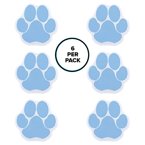 Bathtub Non Slip Appliques - SlipX Solutions Adhesive Paw Print Bath Treads Add Non-Slip Traction to Tubs, Showers, Pools, Boats, Stairs & More (6 Count, Reliable Grip, Blue)