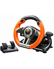 PC Racing Wheel, PXN V3II 180 Degree Universal Usb Car Sim Race Steering Wheel with Pedals for PS3, PS4, Xbox One, Nintendo Switch(Orange)