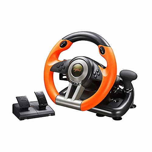 PXNV3II PC Racing Wheel, 180 Degree Universal Usb Car Racing Game Steering Wheel with Pedal for Windows PC, PS3, PS4, Xbox One/Xbox Series S&X, Nintendo Switch(Orange)