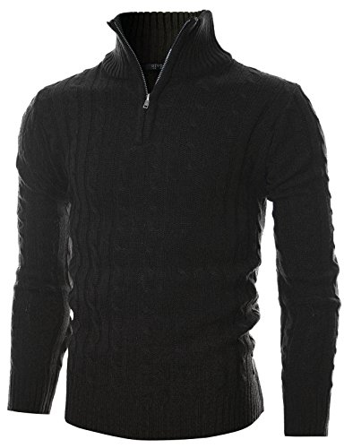 GIVON Mens Slim Fit Cable Knit Quarter Zip Long Sleeve Turtle Neck Pullover Sweater/DCP044-BLACK-S (Cable Half Zip Sweater)