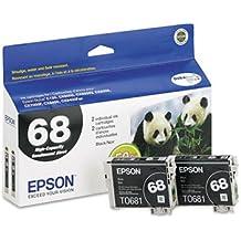 Epson® T068120D1 (68) Inkjet Cartridge CARTRIDGE,HICAP 68,2PK,BK (Pack of2)
