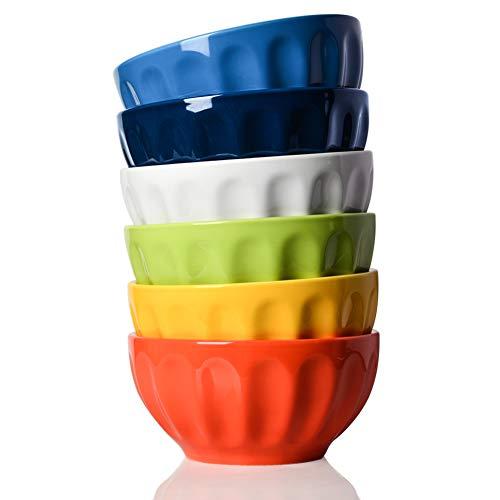 SWEEJAR Ceramic Fluted Bowl Set, 26 oz for