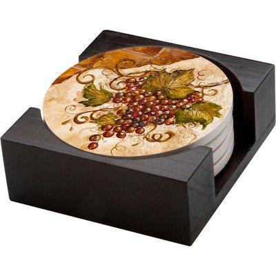 5 Piece Grapes Collegiate Coaster Gift Set ()
