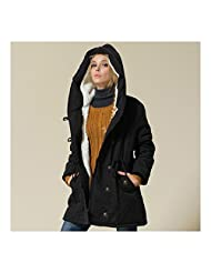 Winter Woman Plus Size Slim Hoodied Cotton Coat black