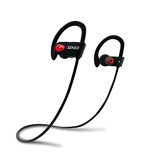 SENSO Bluetooth Headphones, Best Wireless Sports Earphones w/ Mic IPX7 Waterproof HD Stereo Sweatproof Earbuds for Gym Running Workout 8 Hour Battery Noise Cancelling Headsets (Hook Ear Flex)