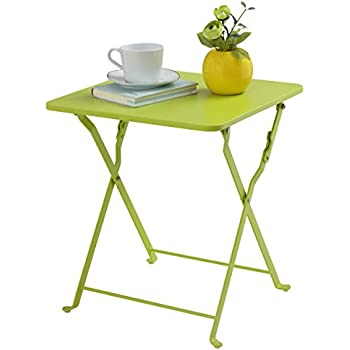 Finnhomy Small Square Folding Side End Table Sofa Table Tray Side Table  Snack Table Metal Anti