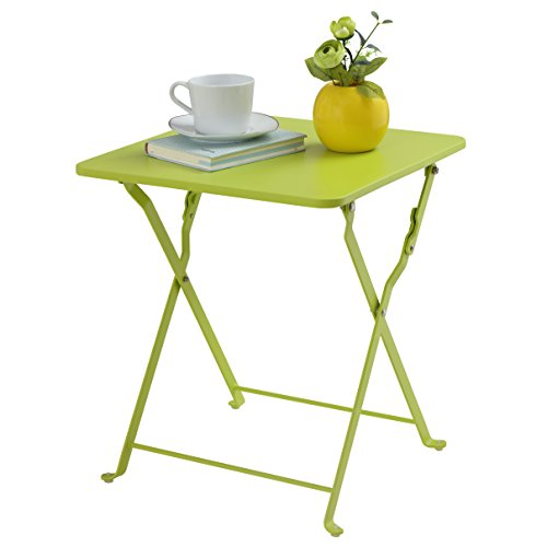 Finnhomy Small Square Folding Side End Table Sofa Table Tray Side Table Snack Table Metal Anti-Rusty Outdoor and Indoor Use for Little Stuff Multi-use Green
