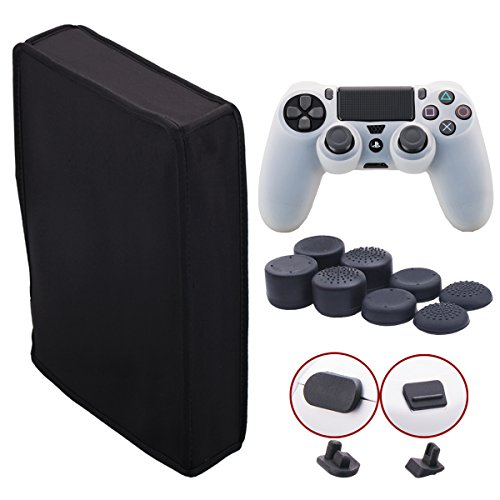 9CDeer Soft Neoprene Dirt Dust Protective Cover Black for PS4 PRO Vertical Version + 1 Piece Controller Silicone Cover Skin clear white + 2 Pieces Controller Dust Proof Plugs + 8 Pieces Thumb Grips