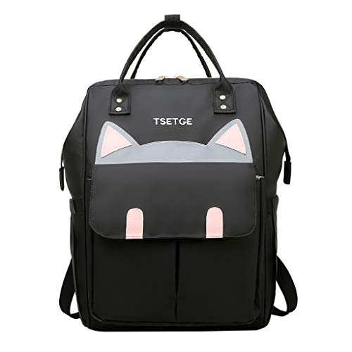 Mini Cute Cat Emboridery for Girls Women, Mini Kitty Face Bookbag Oxford Cloth Fanny Pack Waterproof Schoolbag by Vielgluck ()