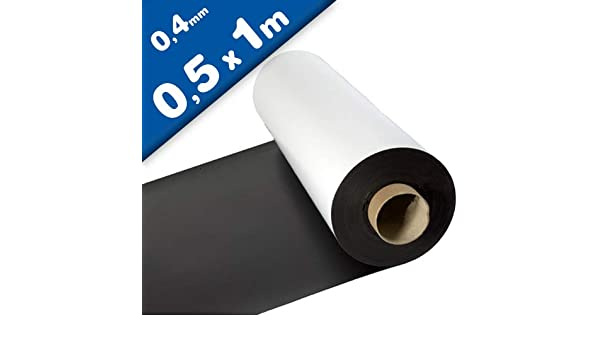 Lámina magnética blanco mate 0,4mm x 50cm x 100cm - crear imanes personalizados, adhiere a todas superficies metálicas: Amazon.es: Hogar