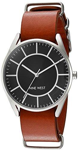 nine-west-womens-nw-1943bkhy-silver-tone-slip-through-luggage-brown-strap-watch