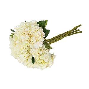 EZFLOWERY 5 Pcs Artificial Silk Hydrangeas Flowers Bouquet Arrangement, for Home Decor, Wedding, Office, Room, Hotel, Event, Party Decoration (White) 55