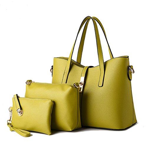 Fashion pelle borsa Un Womens Hot borsa tre Travel Bag da sintetica Borsa Giallo insieme in a tracolla viaggio pezzi di raqqIXO8