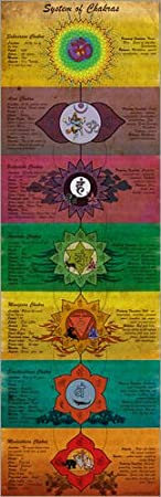 Alu Dibond 20 x 60 cm: System of Chakras Yoga Poster di Sharma Satyakam POSTERLOUNGE