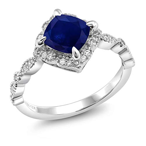 Gem Stone King 925 Sterling Silver 2.34 Ct Cushion Cut Blue Diffused Sapphire Solitaire Ring (Size 7)
