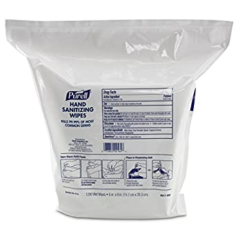 PURELL 9118-02l Antimicrobial Sanitizing Wipes,  - Refill Pack (1200 Wipes) - 2 Pack