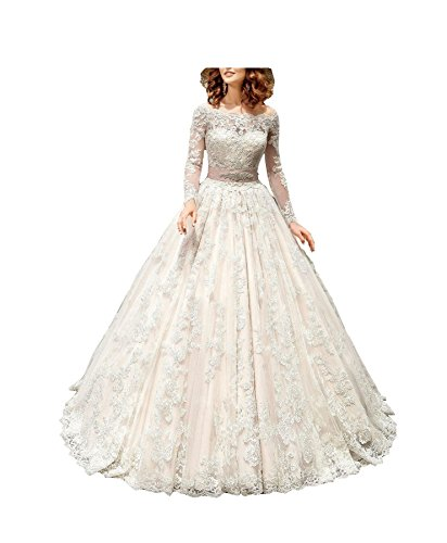 (GBWD Women's Wedding Dresses Luxery Long Sleeves Lace Bridal Gowns Vestidos de Novia White)
