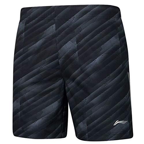 Badminton Clothing - LI-NING Men Badminton Competition Shorts 100% Polyester Regular Fit at Dry Lining Professional Sports Shorts Black AAPP061 Size XL