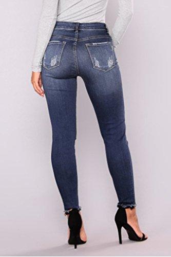 La A De De Taille Trou Pantalons Des Et Pantalon Cheville Jeans Denmin Femmes Serrs Blue Zojuyozio Xqpzw