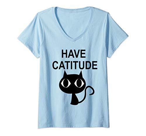 Womens Cute Black Kitty Kitten Feline Gift Have Catitude Funny Cat  V-Neck T-Shirt