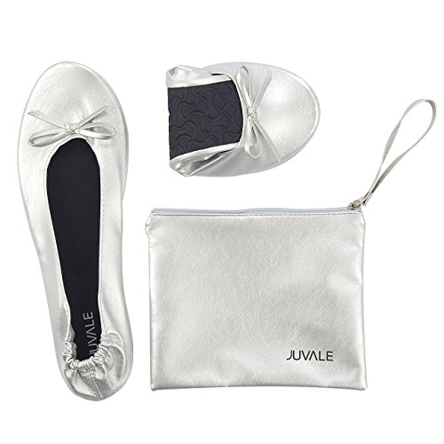 Juvale Foldable Ballet Flats - Medium, US 6.5-7.5 Women's Portable Ballerina Roll up Shoes with Matching Carrying Pouch for Travel, Silver