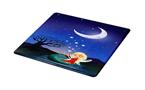 Ambesonne Fantasy Cutting Board, Elf Pixie Sitting on the Boat under Full Moon Sky Night Magic Fairy Girlish Graphic, Decorative Tempered Glass Cutting and Serving Board, Small Size, - Table Pixie Cutting