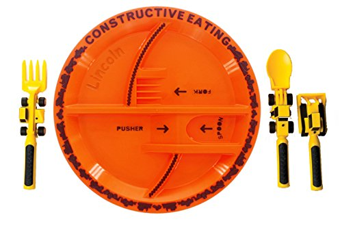 Constructive Eating – Construction Utensil Set with Construction Plate