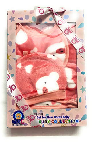 BLUE C Woolen Winter Wear (0-3 Months) Clothes for New Born Baby Set of 5 Pcs. | 1 pc. Baby Bib | 1 pc. Baby Cap | 2 pc. Baby Pajamas I 1 pc Upper