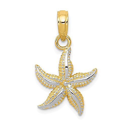 Solid 14k Yellow & White Two Tone Gold Starfish Pendant (19mm x 12mm) ()