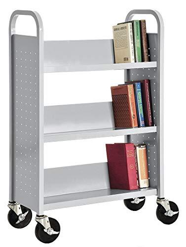 - Sandusky Lee SL330-05 3 Single Sided Sloped-Shelf Book Truck, 32