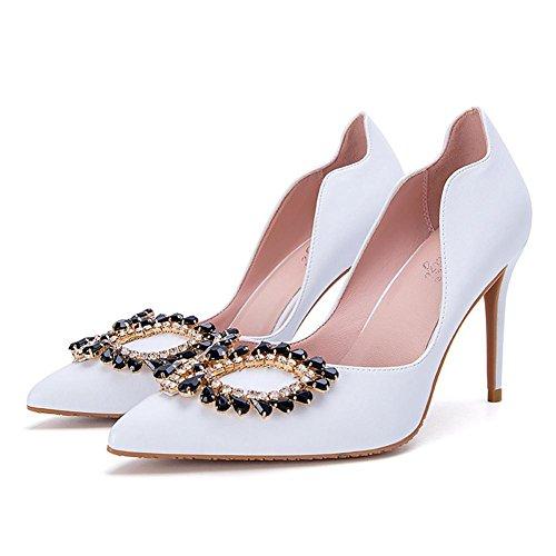 BotóN L Mujer Ultra TamañO Multa alto High De Nightclub Danza Sandalias YC® White Gran Heels Una Con TacóN Xrx5wqXY