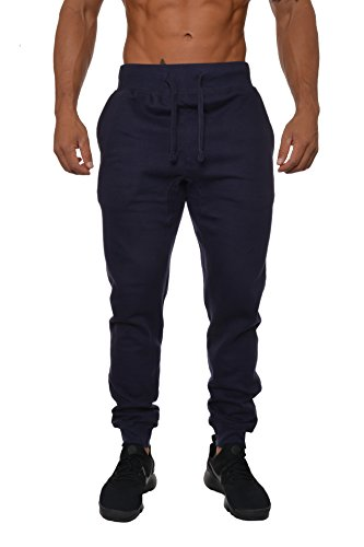 YoungLA Mens Slim Fit Joggers Fitness Activewear Sports Fleece Sweatpants For Gym Training Navy Small ()