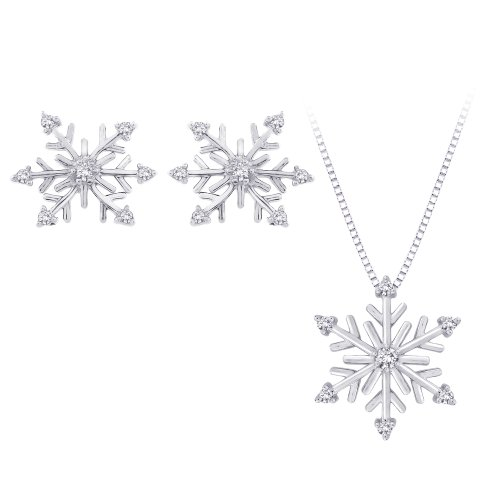 Diamond ''Snow Flake'' Earrings and Pendant Necklace Jewelry Set in Sterling Silver (1/5 cttw) by KATARINA