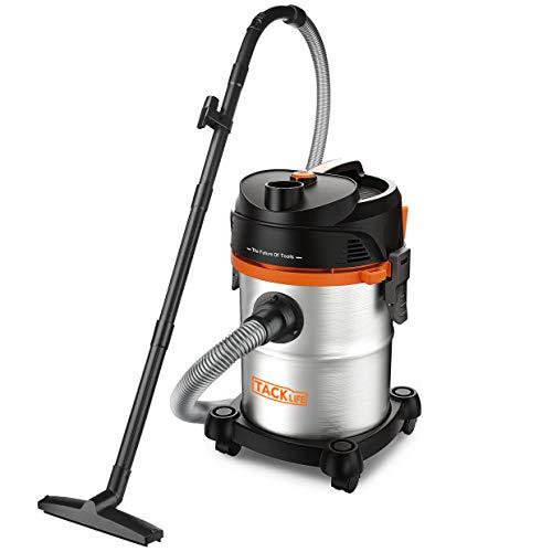 TACKLIFE - Aspirador de agua y polvo, 20 L, 1200 W, sin bolsa, 3 ...