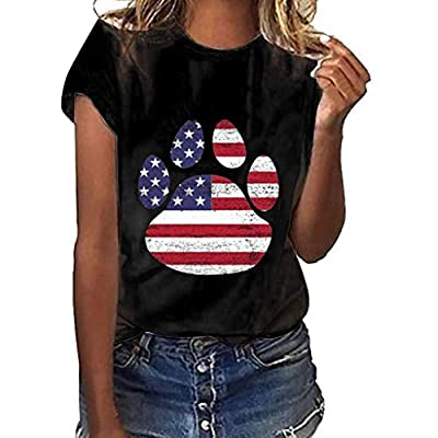 WILLTOO???? 2019 Stylish Dog Claw Printed Tops, Beach Casual Blouse for Independence Day Printing(S-3XL)