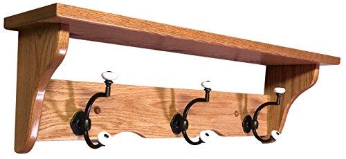 Hope Woodworking Wood Coat Rack Shelf Wall Mounted, Traditional, 3 Hook, Oak Wood, S2 Stain Brass Oak Coat Rack