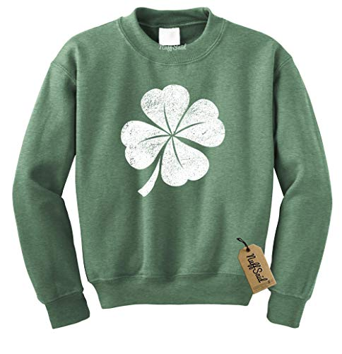NuffSaid St. Patrick's Day Distressed Clover Crewneck Sweatshirt - Unisex Crew (Small, Heather Green - White Ink)
