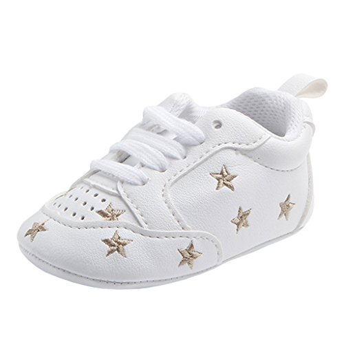 Annnowl Baby Sneakers Infants First Walkers Soft Sole Crib Shoes (12-18 Months, Gold Stars)